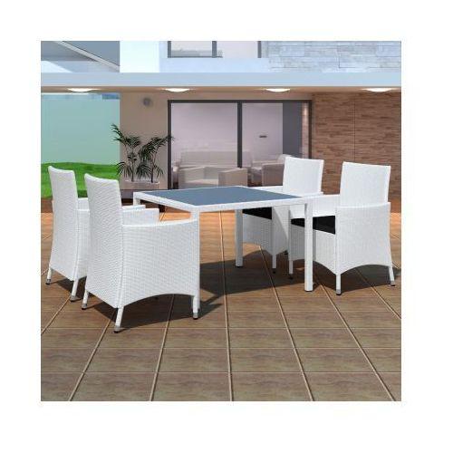 Zestaw ogrodowych mebli rattanowych - 4 krzesła + stół, biały, produkt marki vidaXL