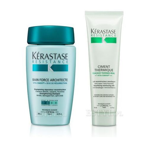 Kerastase Architecte [1-2] - zestaw do włosów zniszczonych: Kąpiel 250 + Cement Termiczny 150ml - produkt z kategorii- odżywki do włosów