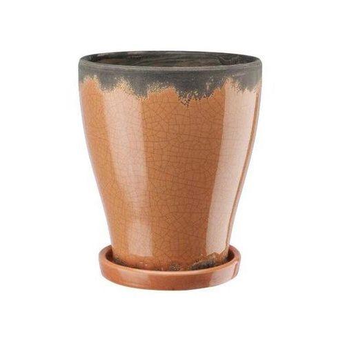 Doniczka ceramiczna z podstawką pomarańczowa, produkt marki Galicja