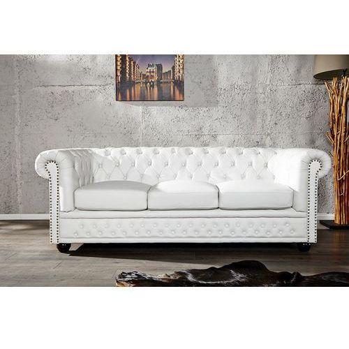 I & I I & I Chesterfield Sofa 3 Osobowa Biała Skóra Ekologiczna (SO37WE/AH1-1)