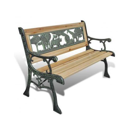 Drewniana ławka dla dzieci z motywem zwierzęcym 80 x 24 cm, vidaXL