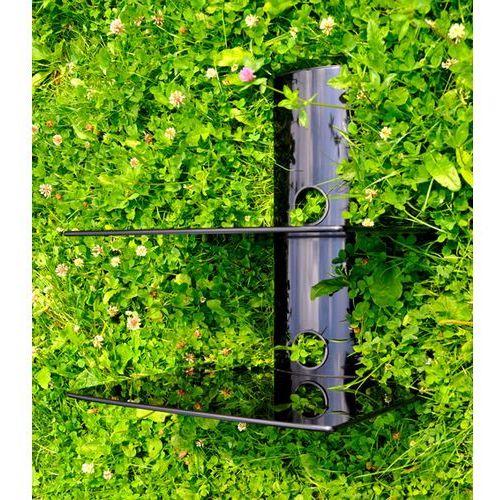 ART D50 - Dwupoziomowa półka audio/ video/ DVD hartowane szkło i polerowane aluminium, do 20kg, czarna z ka