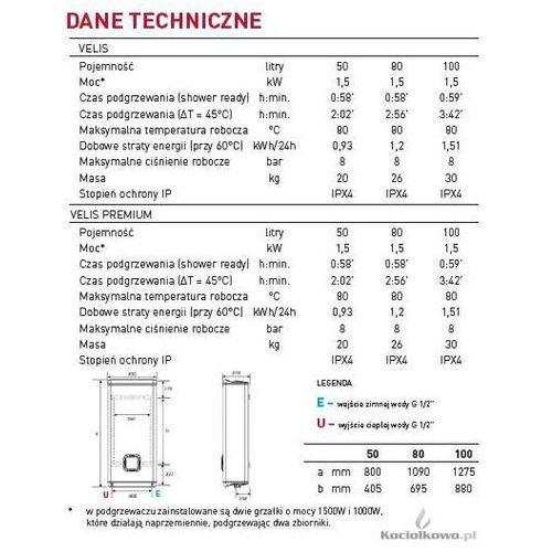 Produkt  Elektryczny pojemnościowy podgrzewacz wody VELIS 80 litrów [3605217], marki Ariston