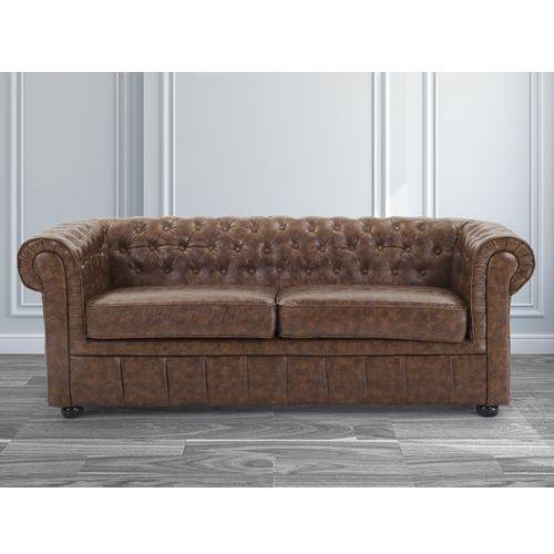 Sofa kanapa skórzana braz Old Style klasyka dom biuro CHESTERFIELD, Beliani