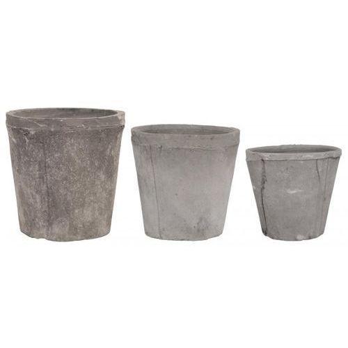 Doniczki Szare Komplet (3sz)  1500-24, produkt marki Ib Laursen