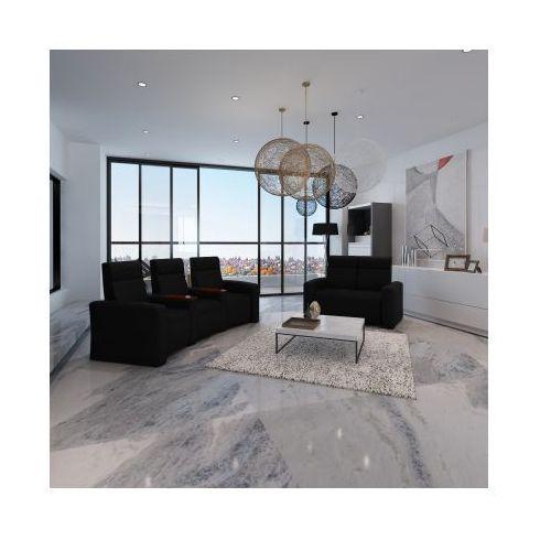 Domowy fotel kinowy z drewnianymi elementami i sofa 3+2 Czarny, vidaXL