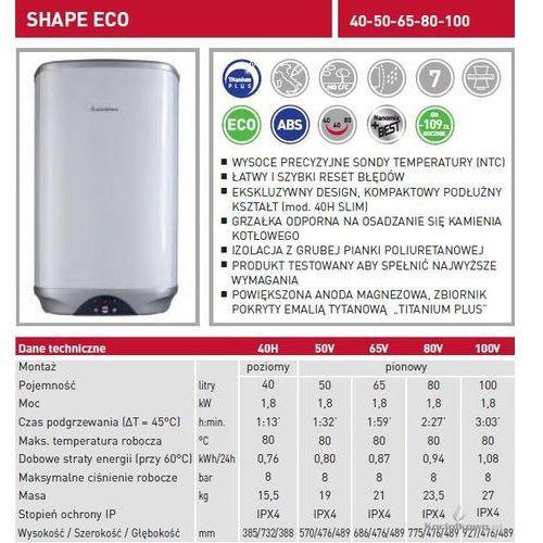 Produkt  Elektryczny pojemnościowy podgrzewacz wody SHAPE ECO 65l [3605142], marki Ariston