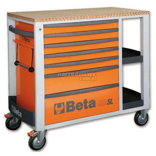 Produkt BETA Wózek narzędziowy z siedmioma szufladami i bocznymi półkami model 2400/C24SL + ZEGAREK NA RĘKĘ, Kolor: Pomarańczowy