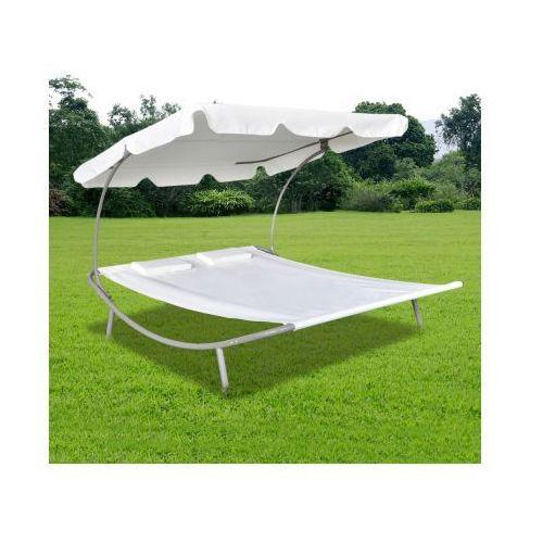 Podwójny leżak z baldachimem i 2 kremowymi poduszkami - produkt dostępny w VidaXL