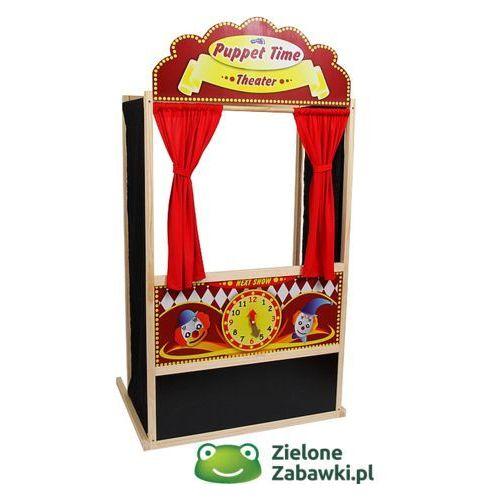 Oferta Stojący, drewniany teatrzyk kukiełkowy z tablicą i zegarem, Clown, 6099-small foot design (pacynka, kukiełka)