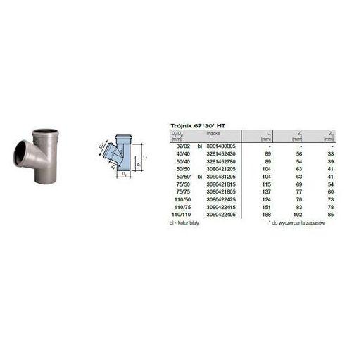 Trójnik kanalizacyjny Wavin HT PVC/PP 32x32/67* stopni biały