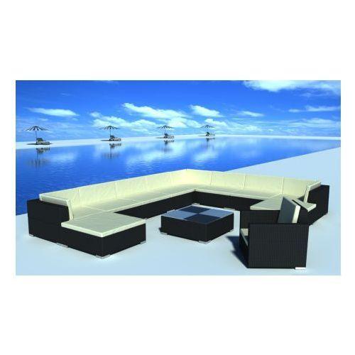 Duży zestaw mebli ogrodowych z polirattanu 35-częściowy (Czarne), produkt marki vidaXL