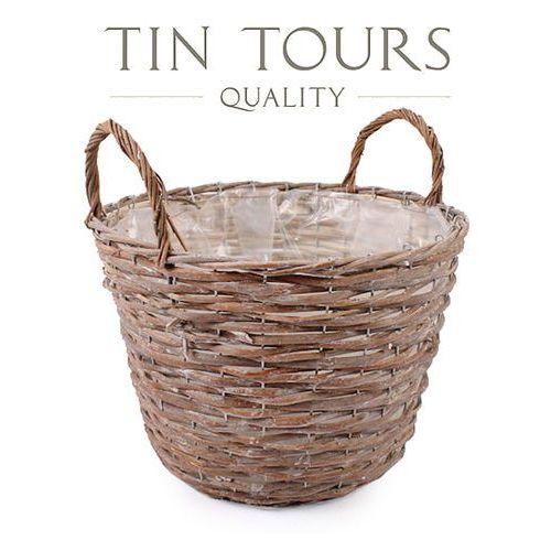 Produkt OKRĄGŁY KOSZYK WIKLINOWY Z UCHWYTAMI 33x33x24/31 cm, marki Tin Tours Sp.z o.o.