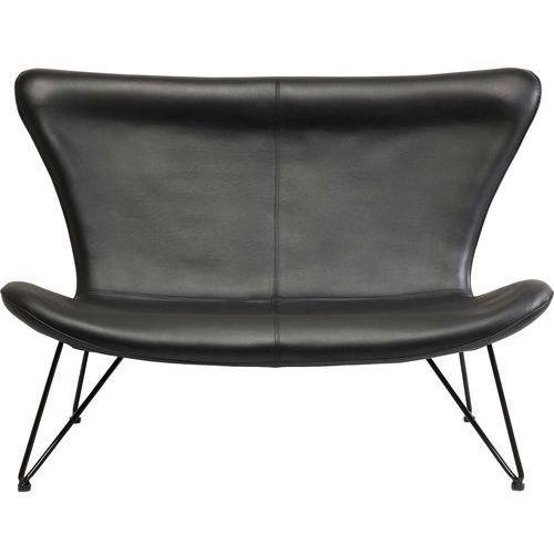 Miami Sofa 2 Osobowa Czarna Skóra Ekologiczna - 79106, Kare Design