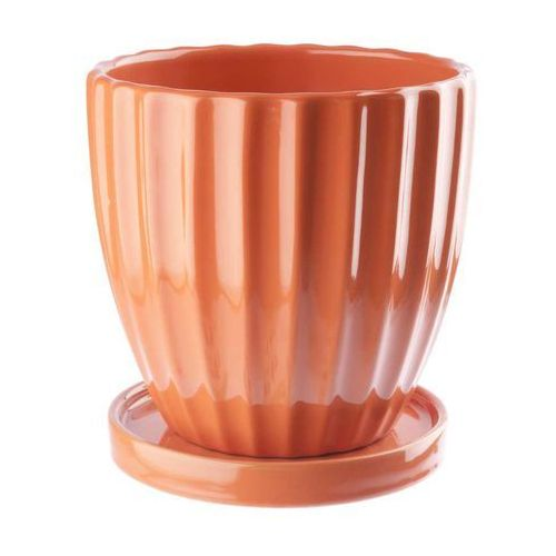 Doniczka ceramiczna z podstawka 17 cm pomarańczowa, produkt marki Galicja