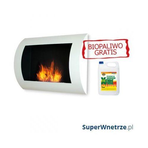 Biokominek dekoracyjny 60x45 cm EcoFire Convex biały + 5L bioetanol GRATIS - oferta [55206d2d25a5c5b8]