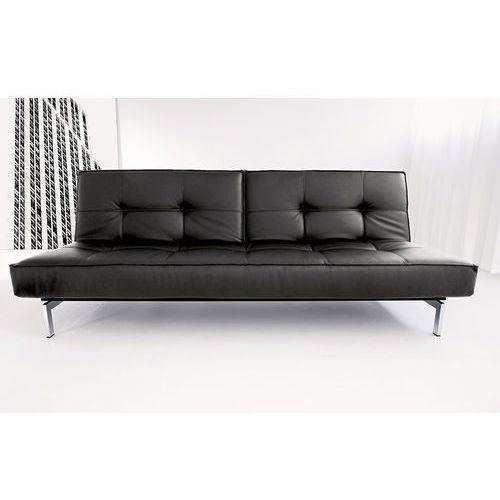 Istyle Innovation Istyle Splitback Sofa Rozkładana Czarna Skóra Ekologiczna Chromowane Nogi 210x115 cm (7410105820008)