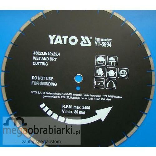 YATO Tarcza diamentowa do asfaltu 450 x 24,5 mm ze sklepu Megaobrabiarki - zaufaj specjalistom