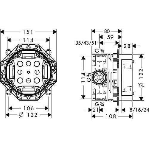 Hansgrohe Uniwersalny element podtynkowy  ibox 01800180
