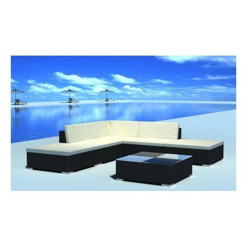 Duży zestaw mebli ogrodowych z polirattanu, 15 el., czarny, produkt marki vidaXL
