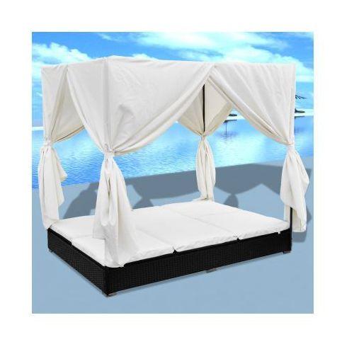 Rattanowe, czarne łóżko dwuosobowe z baldachimem - produkt dostępny w VidaXL