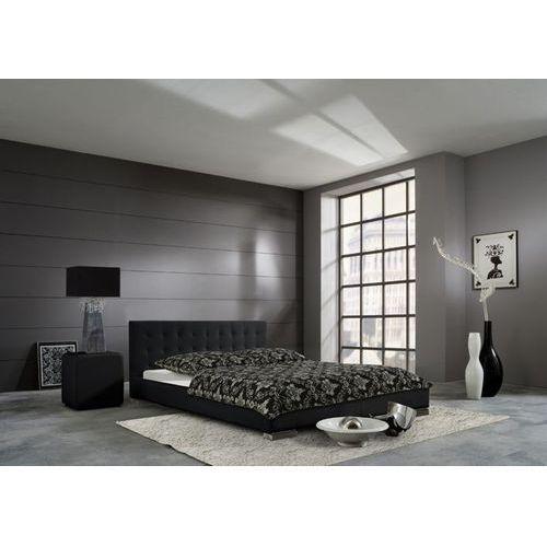 Łóżko Sara - miękka ekoskóra w kolorze czarnym - 140 x 200 cm ze sklepu Meble Pumo