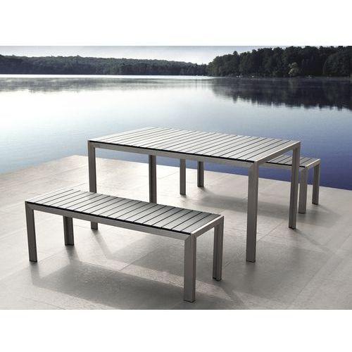 Aluminiowe meble ogrodowe szare z dwiema lawkami, Polywood, NARDO ze sklepu BELIANI.PL