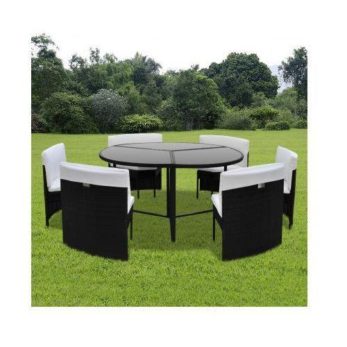 Zestaw mebli ogrodowych stół i krzesła, czarne, rattanowe, produkt marki vidaXL