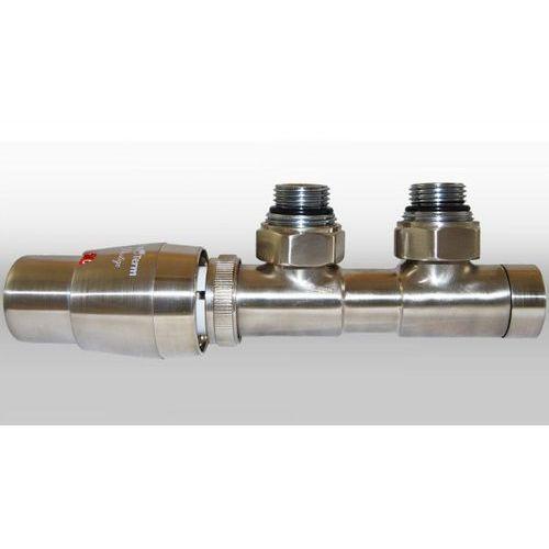 Zestaw twins 3/4x3/4 kątowy lewy nikiel szlifowany + nypel 2szt. 1/2 x 3/4 wyprodukowany przez Varioterm