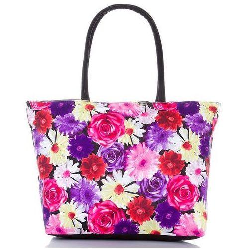 8c84fd45c57c9 Torba plażowa damska kolorowe kwiaty - czarny ||fioletowy ||różowy  ||czerwony ||biały ||żółty ||wielokolorowy ||wielobarwny