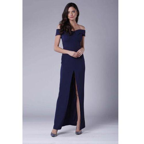 5d18c9d75d Granatowa Wieczorowa Sukienka Maxi Odsłaniająca Dekolt i Ramiona