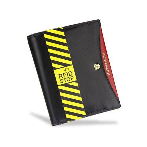 75f51692164bb Portfel Męski Peterson Skórzany 339 Czarny + Czerwony System RFID STOP