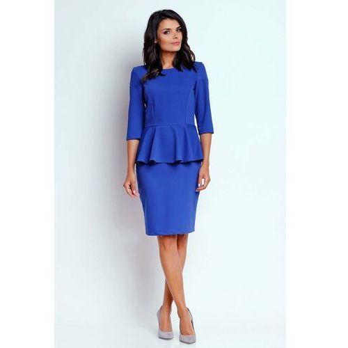 f2f25bf63e Kobaltowa Wizytowa Sukienka Midi z Baskinką. Zakupy do Suknie i sukienki