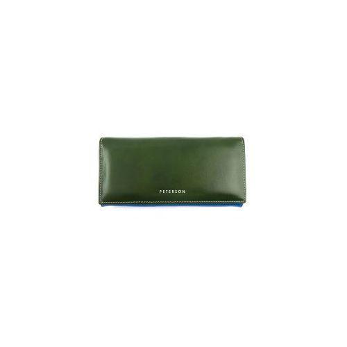 c01c81a70dd74 Zielono-niebieski damski portfel skórzany Peterson PL 435 Z
