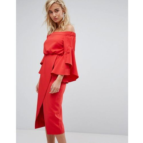 e02aa5279b8cc Lavish Alice Off The Shoulder Midi Dress With Bell Frill Sleeves - Red