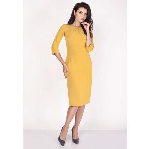a38cf30447 Żółta Sukienka Midi z Rękawem za Łokieć